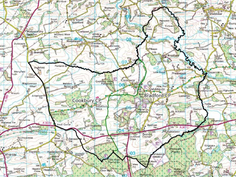 Bradford And Cookbury Map